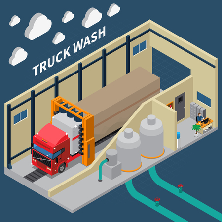 Isometric composition with shiny truck after automatic wash, cleaning equipment, interior elements on blue background vector illustration 向量圖像