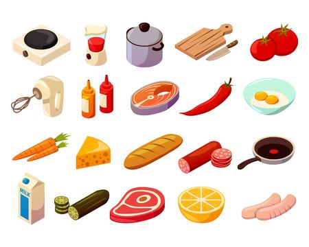 Karmowy kucharstwo ustawiający isometric ikony z kitchenware, kulinarnym wyposażeniem, mięsem, ryba i warzywami odizolowywaliśmy wektorową ilustrację ,. Ilustracje wektorowe