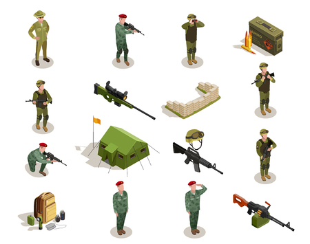 Army personnel military kit personal belongings ammunition weapon isometric icons collection with servicemen in uniform isolated vector illustration