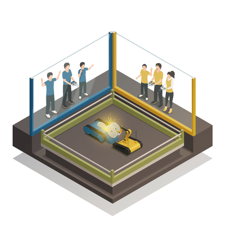 Fighting robots exhibition design concept with teens controlling remotely for two iron monsters isometric vector illustration