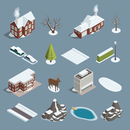 Winter landscape isometric elements set with buildings trees deer rocks mountains pond lake vehicles isolated vector illustration