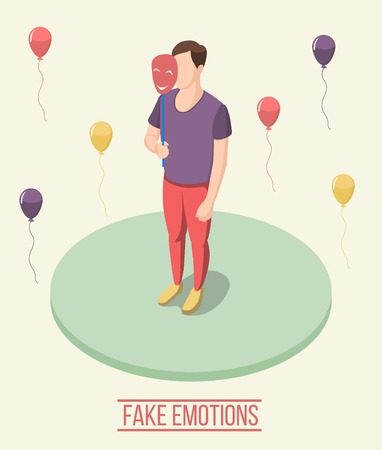 Fake emotions isometric composition including man with smiling mask on green round platform, colorful balloons vector illustration