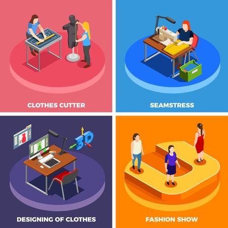 패션 의류 제조 개념 4 아이소 메트릭 아이콘 사각형 절단 바느질 및 모드 쇼 격리 된 벡터 일러스트를 설계
