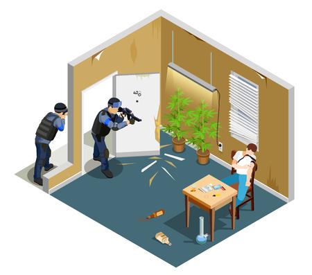 Detentie van drugsverslaafde door politie met kanon tijdens injectie isometrische samenstelling met binnenlandse elementen vectorillustratie Stock Illustratie