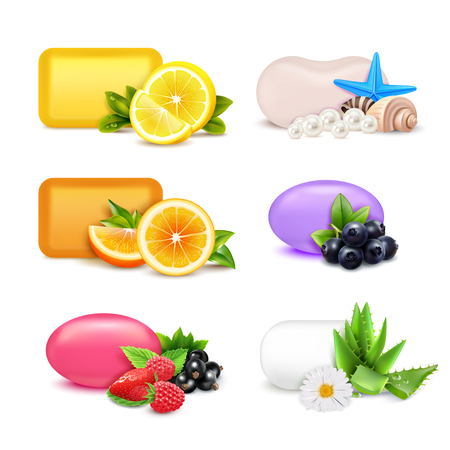 Soap aroma bars realistic set with lemon and orange aroma isolated vector illustration
