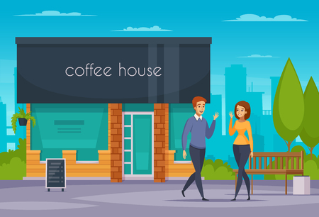 Friendly handshake composition with man woman and coffee house flat vector illustration Ilustração