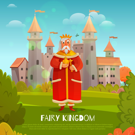 King in red clothing with power symbols on medieval castle background in fairy kingdom cartoon vector illustration