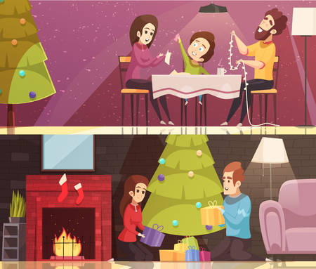 Horizontal cartoon banners set with people celebrating christmas at home isolated vector illustration Illustration
