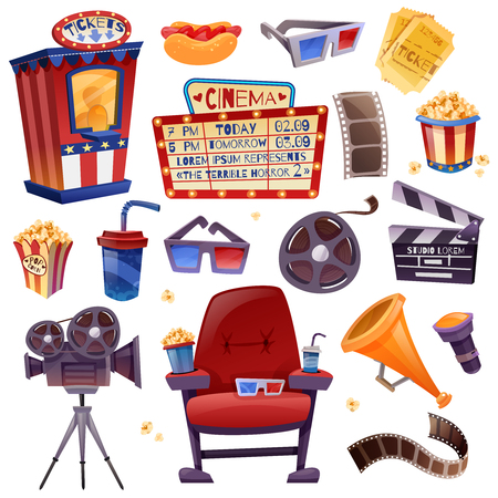 Cinema cartoon icons set with camera, film, clapper, drink and snacks, armchair, glasses, tickets.