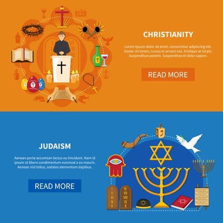 Two colored horizontal religions banner set with Christianity and Judaism descriptions and read more buttons vector illustration Illustration