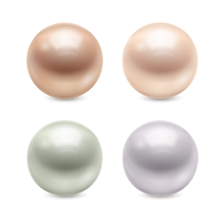Set of glossy pastel realistic pearls of round shape with reflection isolated on white background. Illustration