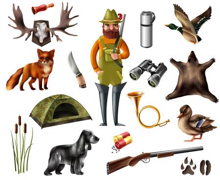 Ensemble d'icônes de chasse avec homme barbu, chien de chasse, animaux sauvages, empreintes de pas, tente, arme, trophées isolés vector illustration Banque d'images - 90996354