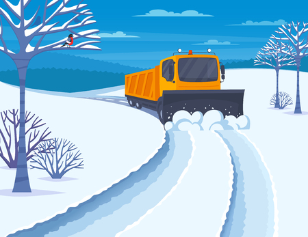 Winter snow transport with snow blower and snowmobile flat vector illustration