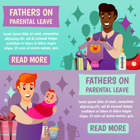 Set of horizontal orthogonal banners with happy fathers and baby during parental leave isolated vector illustration