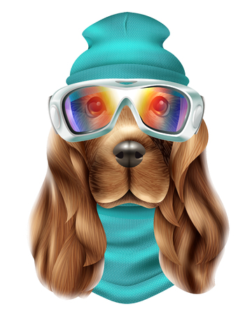 Colored realistic spaniel dog ski suit portrait with cute animal and snowboard equipment vector illustration Illustration