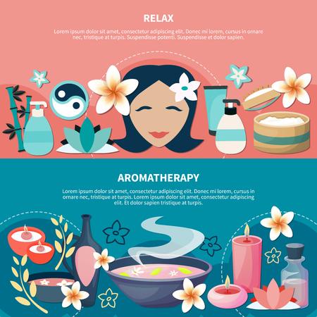 Masaje de aromaterapia popular spa resort de bienestar para la relajación y el estrés 2 pancartas horizontales planas vector illustration Foto de archivo - 91000406