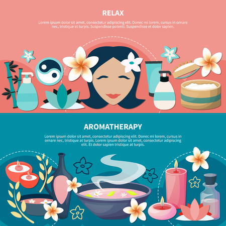 Spa wellness resort popular aromatherapy massage  for relaxation and stress relief 2 flat horizontal banners vector illustration