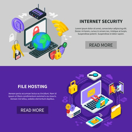 Internet security and file hosting horizontal banners with icons showing data exchange and protection services isometric vector illustration 向量圖像