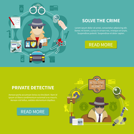 Two colored and flat detective banner set with solve the crime and private detective descriptions vector illustration