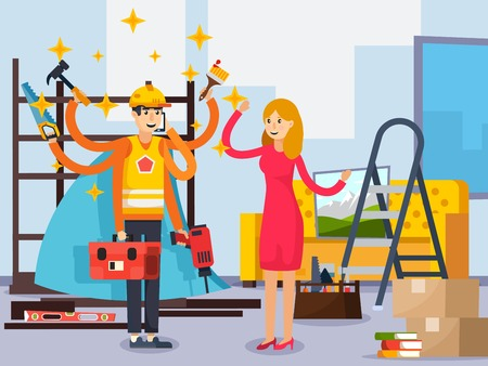 Superhero repairman with working tools in blue cloak in room after relocation orthogonal composition flat vector illustration Ilustração