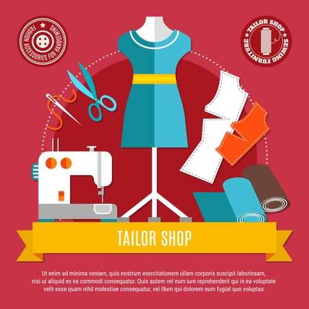 Tailor shop concept with mannequin sewing machine and cloth flat vector illustration