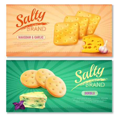 Salty snacks horizontal banners set of two ads with realistic cookies and filler images of premium cheese vector illustration Illustration