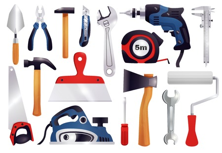 House repair renovation remodeling realistic carpentry tools set with claw hammer saw screwdriver measure tape vector illustration Illustration