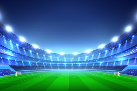 Soccer stadium perspective background with green lawn and white gates, tribunes with spotlights, blue sky vector illustration