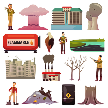 Man-made disasters anthropogenic hazards negligence pollution environment damage nuclear accidents orthogonal icons collection isolated vector illustration