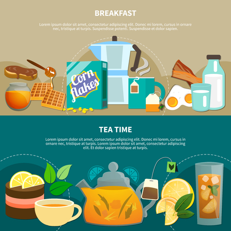 Set of flat horizontal banners with food and drink for breakfast and tea time isolated vector illustration
