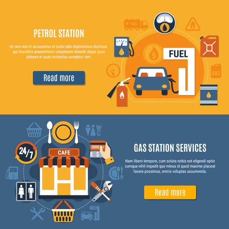 Two flat horizontal fuel pump banner set with petrol station and gas station services descriptions vector illustration