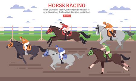 Corsa di cavalli sulla scena Ippodromo con cavalieri in cerchio per saltare durante l & # 39 ; illustrazione piana di vettore di concorrenza Vettoriali