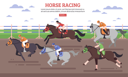 Horse racing on hippodrome scene with riders in gear at racehorses during competition flat vector illustration