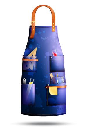 De realistische blauwe bevlekte schort van wetenschapper met leerelementen en professionele hulpmiddelen in zakken isoleerde vectorillustratie Stock Illustratie