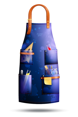 Realistic blue spotted apron of scientist with leather elements and professional tools in pockets isolated vector illustration