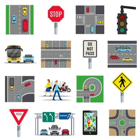 Traffic light signs and regulations roads intersections safety rules pedestrian crossing flat icons collection isolated vector illustration