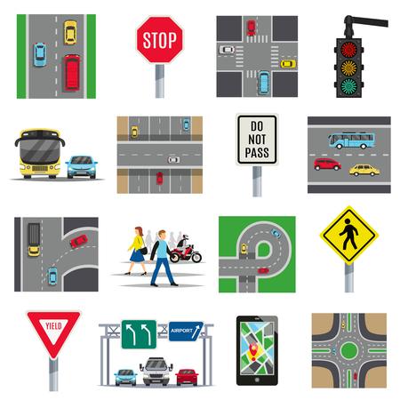 Verkeerslicht borden en voorschriften wegen kruispunten veiligheidsregels voetgangersoversteekplaats vlakke pictogrammen collectie geïsoleerde vectorillustratie Stockfoto - 91000420