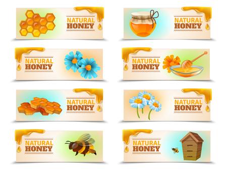 天然蜂蜜は、ミツバチ、ハイブ、ハニカム、花分離ベクトル図の水平方向のバナーの設定