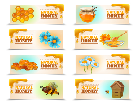 Natural honey set of horizontal banners with bees and hive, honeycombs, flowers isolated vector illustration Illustration