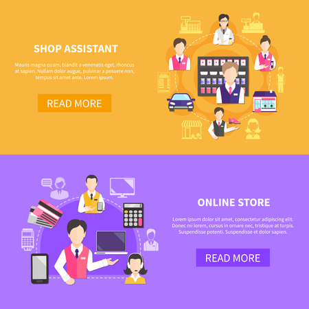 Salesman horizontal banners set with read more button editable text images of items and clerk icons vector illustration Illustration