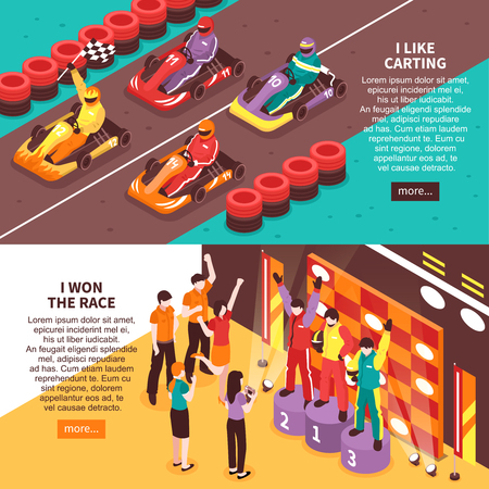 Set of two horizontal isometric carting banners with editable text read more button carts and people vector illustration