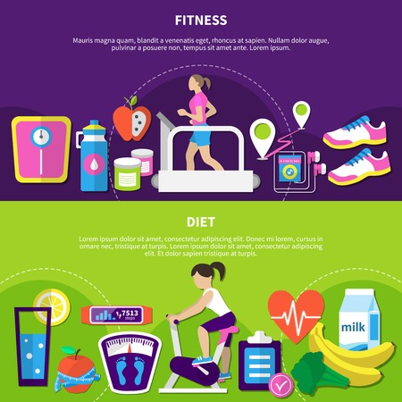 Fitness horizontal banners with women at exercise equipment, diet nutrition, sport app and devices isolated vector illustration