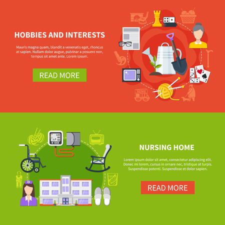 Two horizontal and flat pensioner banner set with hobbies and interests nursing home descriptions vector illustration