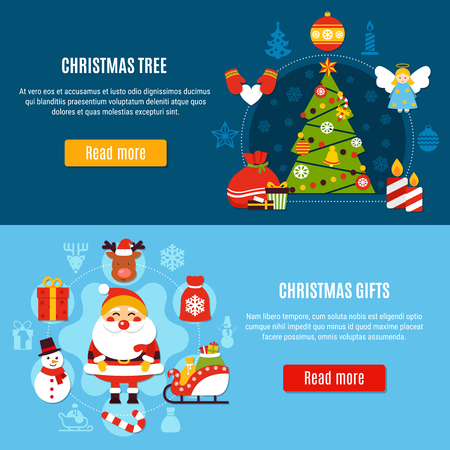 Set of horizontal flat banners with xmas tree and christmas gifts on blue background isolated vector illustration Illusztráció
