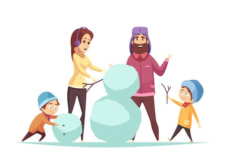 Gelukkige familie met twee kinderen die sneeuwman maken bij Kerstmis op witte achtergrondbeeldverhaal vectorillustratie