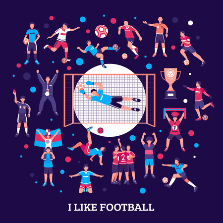 Football soccer composition with set of isolated particles and human characters of team members and referee vector illustration