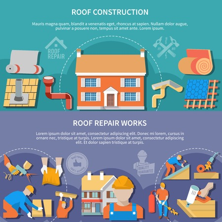 Two flat and horizontal roofer banner set with roof construction and repair works headlines vector illustration