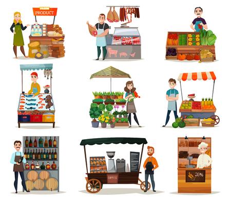 Street food ikony zestaw z warzywami, mięsem i winem płasko na białym tle ilustracji wektorowych Ilustracje wektorowe