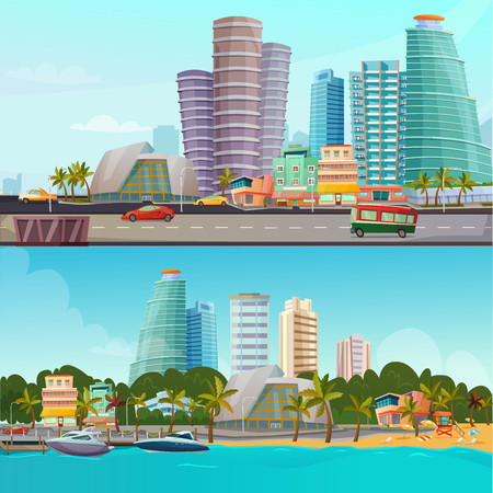 Miami waterfront houses skyline 2 retro cartoon banners set with famous city landmarks towers isolated vector illustration Illustration