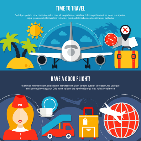 Air travel airlines 2 flat advertisement banners with tropical vacation luggage and service in-flight isolated vector illustration
